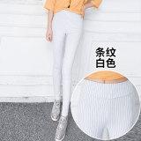 Cara Beli Yayangren Celana Dasar Wanita Ditambah Beludru Pinggang Tinggi Elastis Putih Bergaris Bagian Baju Wanita Celana Wanita