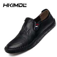 HKIMDL New Leather Casual Driving Slip-Ons & Loafers Men Carrefour Shoes Black - intl