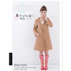 HKS Mantel Model Fashion Jepang Jas Hujan WPC Jaket Dewasa Breathablewaterproof Yu Lama Pi Wanita Wave Titik Bernapas Panjang Bagian (Khaki (Ukuran Cocok untuk Semua)) -Intl