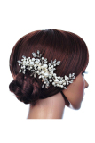 Toko Hks Flowers Rhinestone Tiara Pearl Fabric Bridal Wedding Crown Floral Hairdress Silver Intl Intl Murah Tiongkok