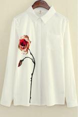 Pusat Jual Beli Hks Wanita Blus Lapel Kerah Bunga Percetakan Longgar Putih Intl Tiongkok