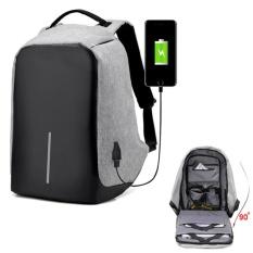 Spesifikasi Hola 15 6 Inci Outdoor Perjalanan Kanvas Anti Curi Unisex Wanita Ransel Rucksack Laptop Casing With Usb Pengisian Port Abu Abu Oem