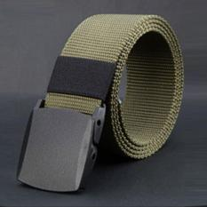 Toko Hola Men Canvas Belt Plastic Anti Allergic Plastic Buckle Outdoor Sports Casual Belt Army Green Intl Terlengkap