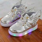 Toko Honey Bee Babyshop Sepatu Led Wings Silver Anak Kids Balita Toddler Walker Shoes Lampu Terdekat