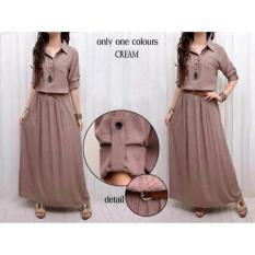 Honeyclothing Dress Wanita Lita - Cream / Longdress / Maxi / Baju Wanita / Dress Muslim