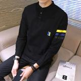 Spek Honrn Korea Fashion Style Laki Laki Kerah Stand Up Lengan Panjang Pria T Shirt T Shirt Hitam Tiongkok