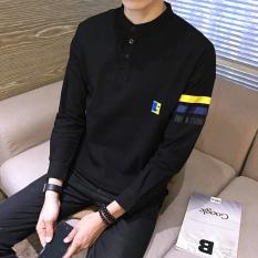 Honrn Korea Fashion Style Laki Laki Kerah Stand Up Lengan Panjang Pria T Shirt T Shirt Hitam Diskon Tiongkok