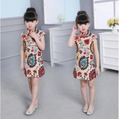 Harga Panas Bayi Kids Little Anak Perempuan Katun Gaun Trendi Qipao Pendek Lengan Cina Cheongsam Pakaian Tang Perapi Bayi Putri Gaun Untuk 2 8 T Intl Termahal