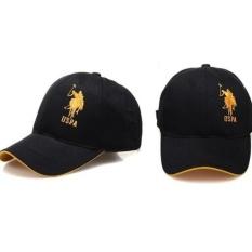 Hot Kota Rekreasi Berkendara Penting Matahari Topi Paulus POLO Topi Bisbol Laki-laki Topi Golf Hat (Hitam Emas) -Intl