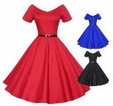 Ulasan Tentang Hot Fashion Bola Gaun Pesta Kasual Vitage Retro Close Fitting Slim Gaun Pernikahan Prom Gaun Merah Biru Hitam Intl