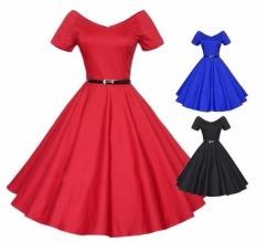 Harga Hot Fashion Bola Gaun Pesta Kasual Vitage Retro Close Fitting Slim Gaun Pernikahan Prom Gaun Merah Biru Hitam Intl Lengkap