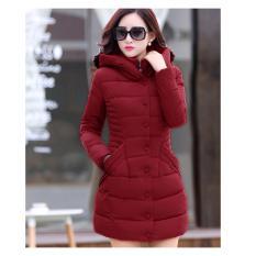 Jual Hot Fashion Womens Coat Winter Korean Coats Padded Jacket Plus Size(Wine Red) Intl Branded