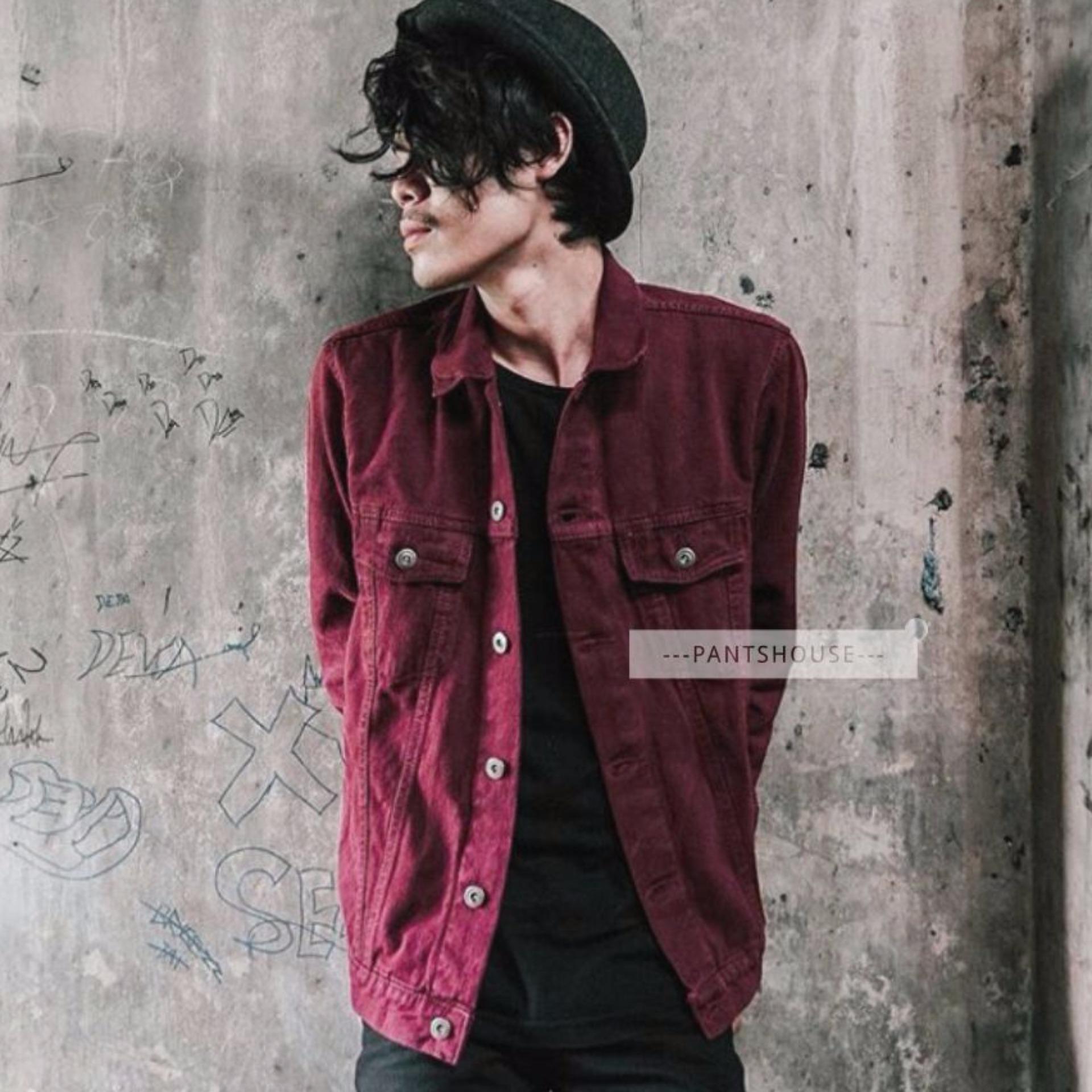 HOT ITEM Jaket Jeans Denim Pria - BURGUNDY .