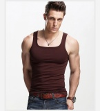 Spesifikasi Hot Men Square Leher Leher Bulat Rompi Pria Kasual Katun Body Building Pria Rompi Olahraga Kopi Intl Terbaik