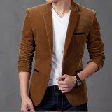 Review Pada Hot Fashion Pria Slim Fit Bergaya Kasual Gaun Blazer Mantel Jaket Khaki Ekspor