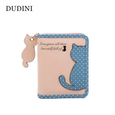 Hot New Fashion Wanita Dompet Qute Cat Pendant Ladies Pursehit Color Splice Zipper Pendek Clutch Coin Purse Tempat Kartu- INTL