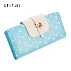 Hot Baru Korea Fashion Dompet Wanita Dicetak Plum Kolor Pengait Dompet Wanita 2 Fold Segar Clutch Koin Pemegang Kartu Saku -Intl