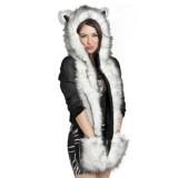Spesifikasi Baru Musim Dingin Hangat Hat Topi Bulu Hewan Berbulu Mewah Kerudung Syal Selendang Sarung Tangan Berkat Putih Hitam Intl Oem