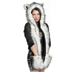 Promo Baru Musim Dingin Hangat Hat Topi Bulu Hewan Berbulu Mewah Kerudung Syal Selendang Sarung Tangan Berkat Putih Hitam Intl Murah