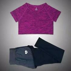 Beli Hot Pink Perempuan Berlari Lari Olahraga Kebugaran Yoga Palsu Dua Potong Setelan Legging T Shirt Yang Menjalankan The Sports Yoga Yang Ditetapkan Oem Online