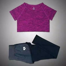 Diskon Hot Pink Perempuan Berlari Lari Olahraga Kebugaran Yoga Palsu Dua Potong Setelan Legging T Shirt Yang Menjalankan The Sports Yoga Yang Ditetapkan Tiongkok