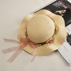 Jual Hot Fashion Indah Straw Summer Anak's Bayi Gadis Anak Berjemur Hat Beach Cap (Beige)