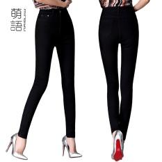 Hot Sale Di Korea Elastisitas Ukuran Besar Plus Ukuran untuk Wanita Pakai untuk Bekerja Seksi Skinny Jeans Slim Jeggings Ankle-Length Cuffs Black Jeans Pensil Jeans-hitam-Intl