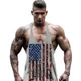 Jual Hot Dijual Pria Bendera Amerika Desain Stringer Singlet Cotton Gym Tank Tops Kebugaran Otot Bodybuilding Tank Top Skull Vest Grey Intl Branded Murah