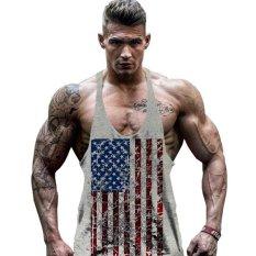 Jual Hot Dijual Pria Bendera Amerika Desain Stringer Singlet Cotton Gym Tank Tops Kebugaran Otot Bodybuilding Tank Top Skull Vest Grey Intl Oem Grosir