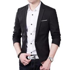 Panas penjualan pakaian pria musim gugur kostum setelan jas jaket jaket kardigan (hitam) - International