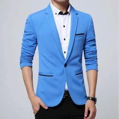 Panas Penjualan Merek Fashion blazer Kasual Pria Slim Fit Pria Jaket Pakaian Baju Gaun Pengantin Ukuran Better (biru) -Internasional
