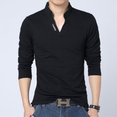 Hot Sale Baru 2017 Fashion Brand Men POLO Warna Solid Kemeja Lengan Panjang Slim Fit SHIRT Pria Kapas POLO Kemeja Fesyen Pria (Hitam) -Intl