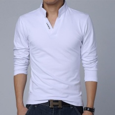Hot Sale New 2017 Fashion Brand Men Polo shirt Solid Color Long-Sleeve Slim Fit Shirt Men Cotton polo Shirts Casual Shirts (White) - intl