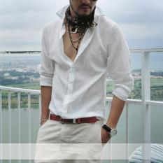 Hot Sale Plus Ukuran Kemeja Swag Cotton Linen Baju Pria Lengan Panjang Musim Panas Gaya Kemeja Hawaii Sexy Slim Fit Pakaian 2017 Baru (Putih) -Intl