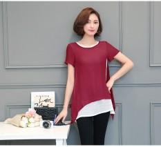 Cuci Gudang Hot Sale Plus Ukuran Wanita Blus Sifon Kausal Musim Panas Lengan Pendek Blus Padat Tidak Teratur Kemeja Wanita Korea Tops Intl