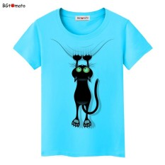 Diskon besar-besaran musim panas nakal hitam kucing 3D t-shirt kartun wanita cantik kualitas bagus merek baju atasan kasual yang nyaman M (biru)- International