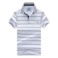 Hot Sale Summer New Arrival Polo Pria Fashion Kualitas Baik Klasik Striped Homme Camisa (Putih)-Intl
