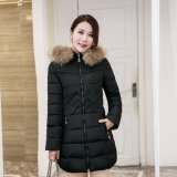 Beli Hot Sale Wanita Trendi Musim Dingin Hangat Parka Down Puffer Jaket Gaya Korea Menebal Bulu Jaket Panjang Musim Dingin Mantel Hoodies Mantel Hitam Murah
