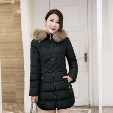 Harga Hot Sale Wanita Trendi Musim Dingin Hangat Parka Down Puffer Jaket Gaya Korea Menebal Bulu Jaket Panjang Musim Dingin Mantel Hoodies Mantel Hitam Murah