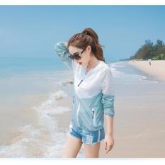 Hot Sale Wanita Pakaian Pelindung Sinar Matahari UV Wanita Lengan Panjang Jaket Outdoor Sun Protection Jaket Sport Jaket Tipis Windbreaker Hooded Cardigan Tahan Air Kemeja Pantai Biru + Putih-Internasional