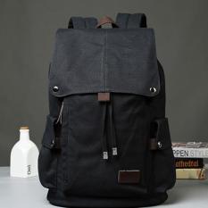 Harga Hot Penjualan Pria Canvas Bag Modis Flap Backpack Drew String Tas Perjalanan Hitam Intl Baru