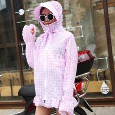 Hot Jual Perancang Pakaian Pelindung Sinar Matahari UV Hooded Lengan Panjang Jaket Kardigan Wanita Pantai Memakai Pakaian Luar Sunscreen Cover-up Mantel-Intl