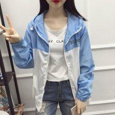 Hot Jual Perancang Pakaian Pelindung Sinar Matahari UV Lengan Panjang Wanita Pantai Memakai Pakaian Luar Tabir Surya Mantel Biru + Putih-Internasional