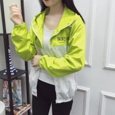 Hot Jual Perancang Pakaian Pelindung Sinar Matahari UV Lengan Panjang WomenBeach Memakai Pakaian Luar Tabir Surya Mantel Kuning + Putih & Nbsp; -Intl