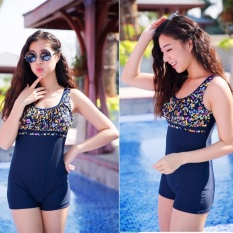 Hot Jual Fashion Elastic One-piece Wanita Boxer Swimwear Wanita Profesional Sport Swimsuit Gaun Cocktail Swimwear-Biru Bunga-Intl