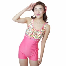 Hot Jual Fashion Elastic One-piece Wanita Boxer Swimwear Wanita Profesional Sport Swimsuit Gaun Cocktail Swimwear-Pink -Intl
