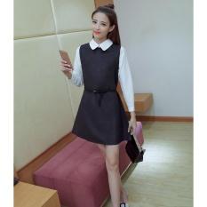 Hot Jual Patchwork Wanita Retro Fashion Wanita Musim Gugur Dress-Intl