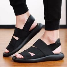 Hot Jual Musim Panas Pria Fashion Korea Sandal Sandal Pemuda Sepatu Pantai Romawi Pria Anti-penyaradan Sport Casual Shoes (hitam) -Intl