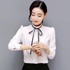 Hot Jual Women's Round Collar Wanita Profesional dan Kerja Shirt-Putih-(Intl)