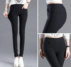 Celana Wanita Hot Jual Women's Slim Pensil  Candy Color Elastic Ankle-length Pinggang Tengah  (hitam) -Intl